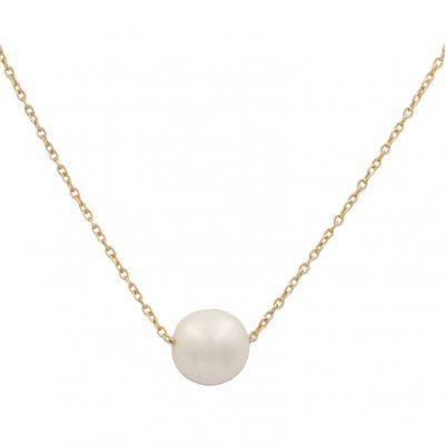 Collar perla cultivada en oro18Kts. Sencillo collar con una perla cultivada pasada por la cadena. Las medidas de la perla es; 12 mm. L Ref; G776
