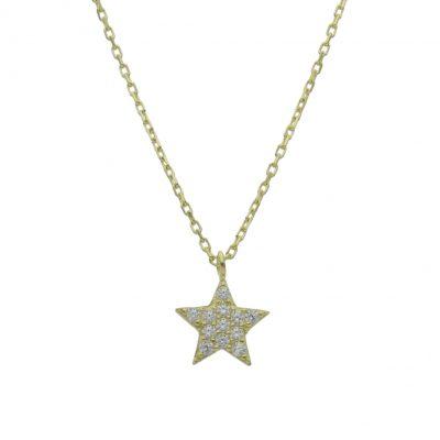 Collar estrella oro circonitas 18Kts. Circulo con circonitas y la terminación es en brillo. Las medidas del motivo son; 8 mm. L Ref; G907