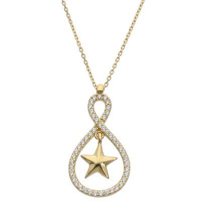 Collar estrella circonitas oro 18Kts. Estrella con circonitas y la terminación es en brillo. Las medidas del motivo son; 13 x 26 mm. L Ref; G925