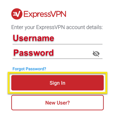 ExpressVPN Sign-in screen showing username and password with Sign In button highlighted.