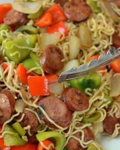 Chicken Sausage & Ramen Stir Fry