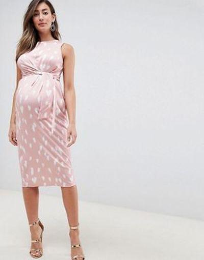vestidos-de-fiesta-premama-para-embarazadas-nudo-delantero-estampado-asos