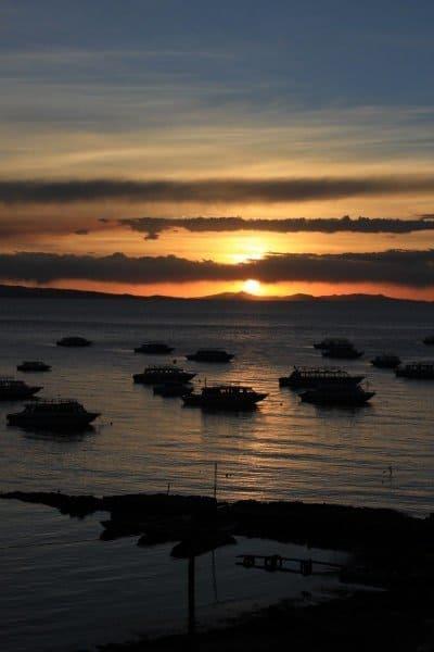Stunning sunset over Lake Titicaca from Copacabana Bolivia