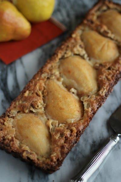 pear and walnut tart GF