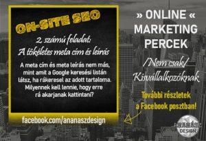Online marketing percek on-site SEO, meta cím és meta leírás