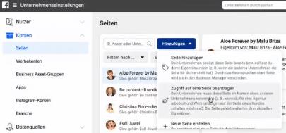 Hinzufügen von Seiten, Zugriff auf eine Seite oder neue Seite im Facebook Business Manager