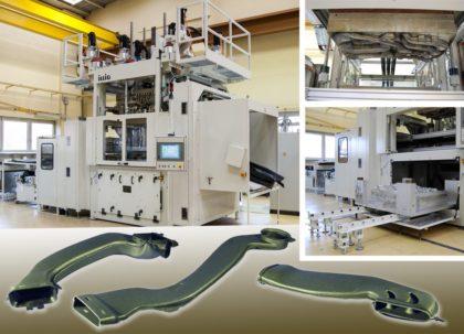 Autóipari szállító ILLIG UAR 155g típusú Twinsheet géppel gyárt puha, hőformázott légcsatornákat