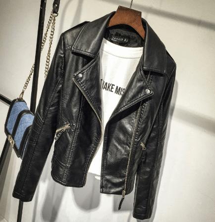 leather jacket with yoga pants