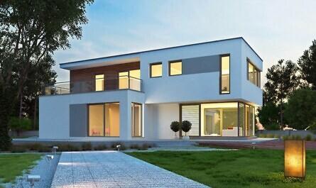 Zufahrt zum modernen Haus