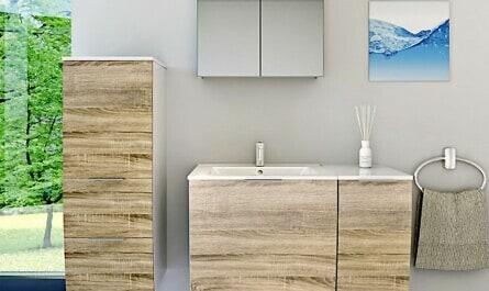 Badezimmer mit Möbeln aus Holz