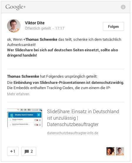g plus embedded posts datenschutz