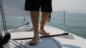 Matt feet on boat deck