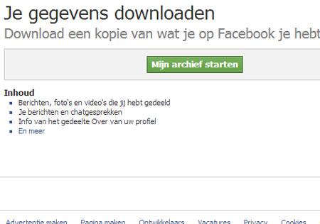 'Mijn Archief Starten' is de knop die je moet indrukken om je profiel op facebook te downloaden.