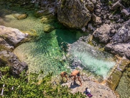 Ötschergräben Grand Canyon of Austria couple enjoying the river