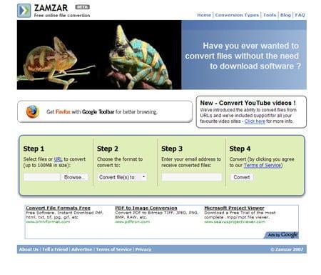 Zamzar – mejor conversor de videos online gratis