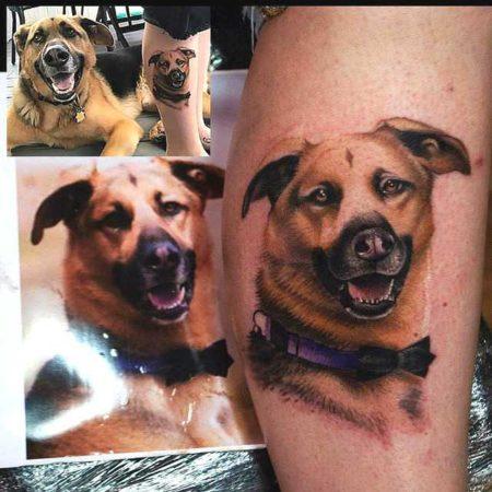 Собачка тату на ноге