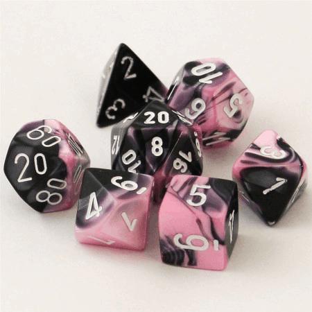 Polydice 7 Dobbelstenenset Gemêleerd Zwart Roze met Wit