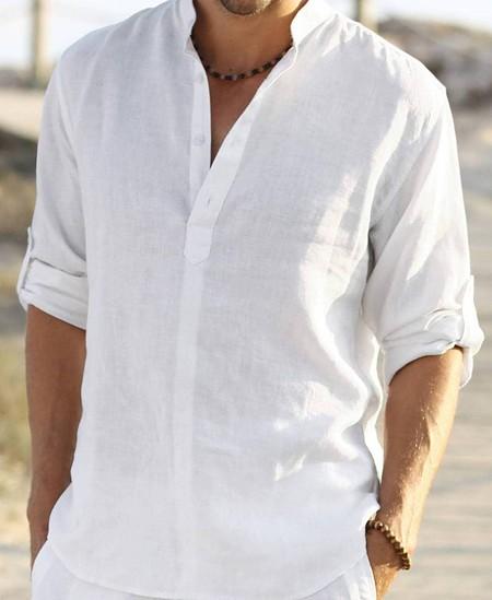 men's spring fashion linen shirt