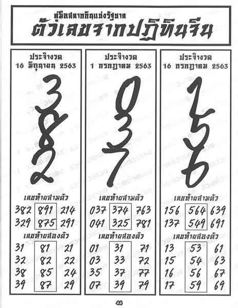 หวยปฏิทินจีน 16/7/63