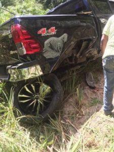 Vehículo en que se accidentó el beisbolista.