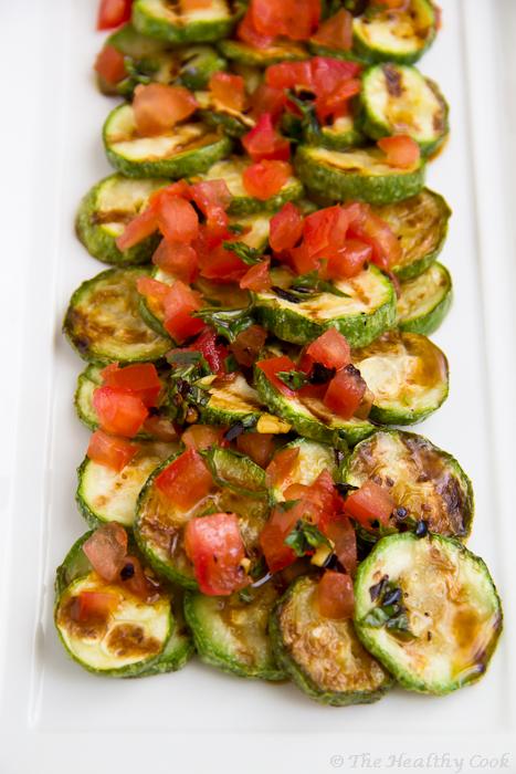 Crilled Zucchini Salad with Τomato and Mint – Σαλάτα με ψητά Κολοκυθάκια, Τομάτα και Μέντα