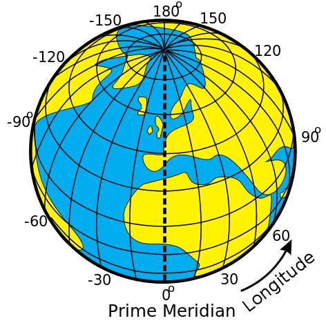 Lines of longitude. Image: Djexplo - Wikimedia Commons, CC BY 2.0