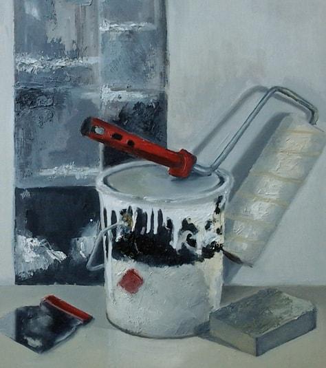 Pintura de objetos al óleo sobre tela. Taller de 4 Pintors