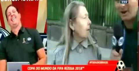 Приколы. ЧМ 2018. Русская бабушка. Бразильский журналист в ступоре!