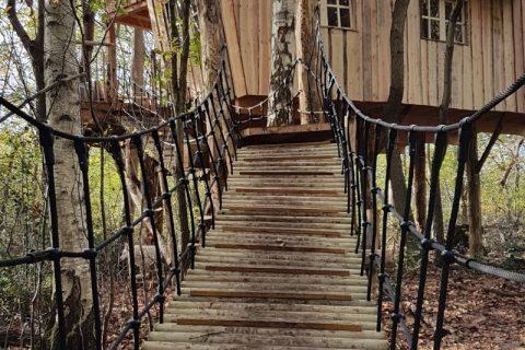 Boomhut touwbrug Camping Reeenwissel