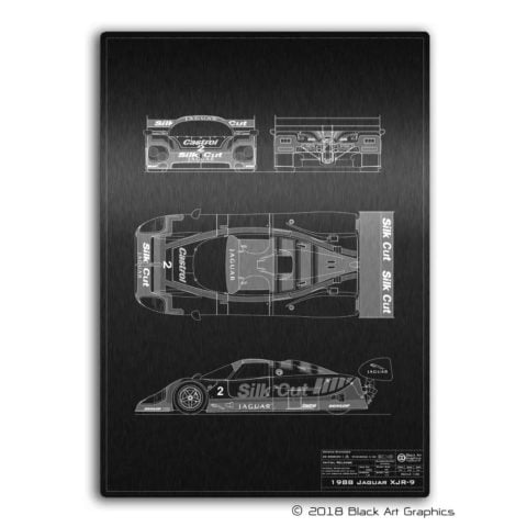 Jaguar XJR-9 Laser Etched Technical Illustration