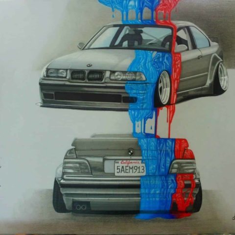 BMW E36 M Power Original Car Drawing Painting Poster Illustration Automotive Art