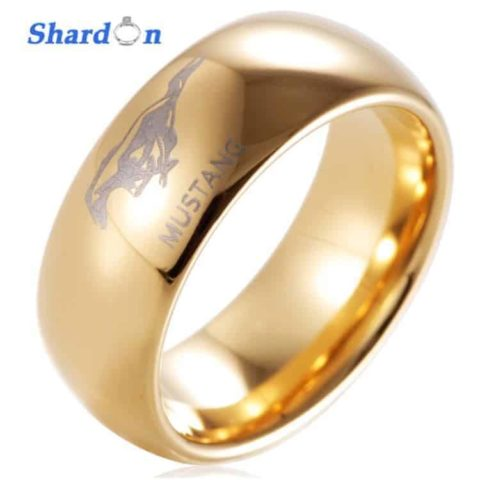 SHARDON Tungsten Ford Mustang Engraved Ring Gold