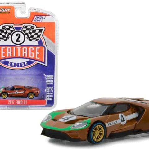 """2017 Ford GT #4 Tribute to 1966 Ford GT40 Mk II Brown Ford Racing Heritage"""" Series 2 1/64 Diecast Model Car by Greenlight"""""""