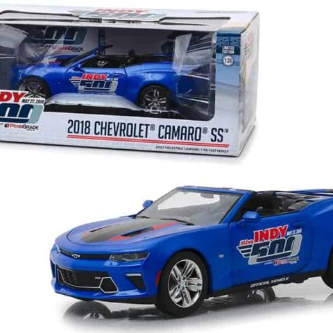 "2018 Chevrolet Camaro SS Convertible Blue 102nd Indy 500 Presented"" by PennGrade Motor Oil 500 Festival Event Car 1/24 Diecast Model Car by Greenlight"""