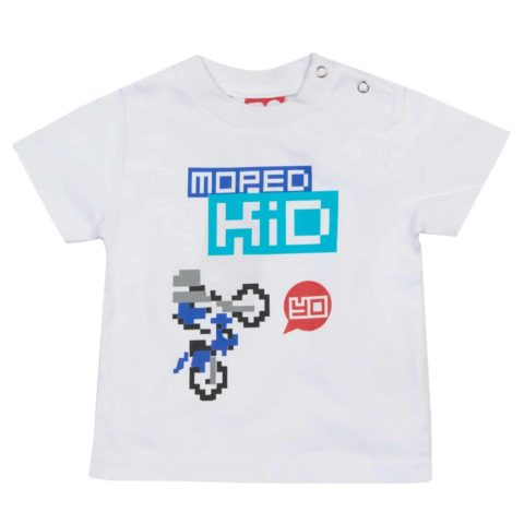 T-SHIRT kids Baby Do-Design Moped Kid Bike Scooter Toddler White