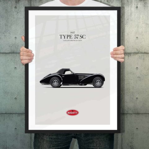 Automotive poster of Bugatti Type 57 SC