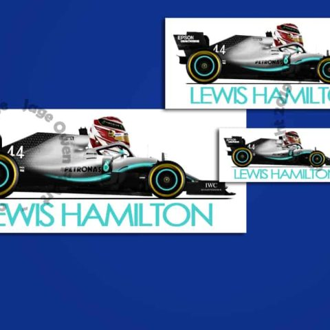 Lewis Hamilton Mercedes F1 Car.Toon 2019 Sticker - Scuderia GP