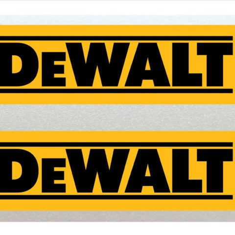 Dewalt Black & Yellow 15cm Stickers x2 Toolbox, Tool Chest, Cars, Vans etc. Vinyl Laminated High Quality