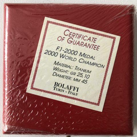 Official Ferrari F1 World Championship 2000 Titanium Medal / Coin + COA
