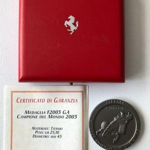 Official Ferrari F1 World Championship 2003 Titanium Medal / Coin + COA