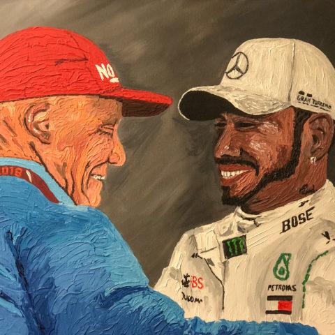 Lewis Hamilton and Niki Lauda Embellished Canvas Print