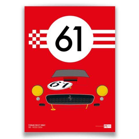 1961 Ferrari 250GT SWB/C - Rosso Corsa - Limited Edition poster print