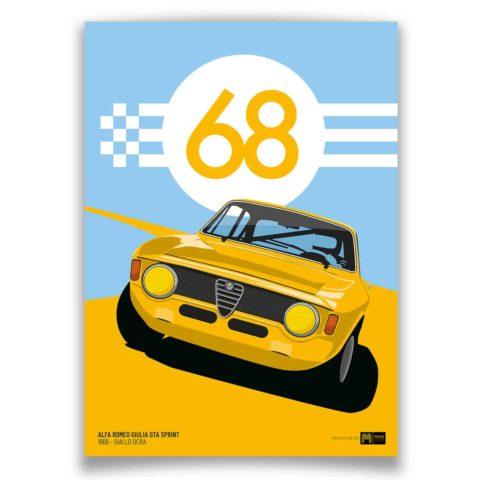 1968 Alfa Romeo Giulia GTA Sprint - Giallo Ocra - Limited Edition Giclée poster print