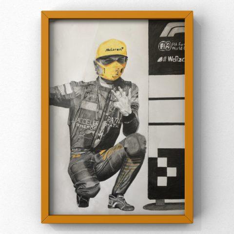 '3 is the magic number' - Lando Norris 1st podium - framed print