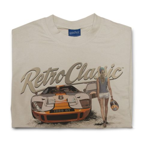 RetroClassic Ford GT40 and Grid Girl Mens Tshirt