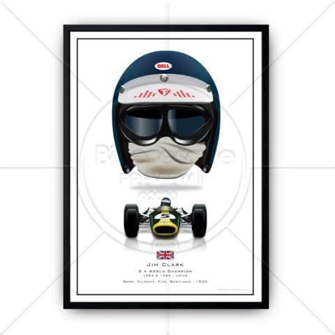 Jim Clark Helmet Formula 1 Lotus 1963 1965 Wall Art Poster Print