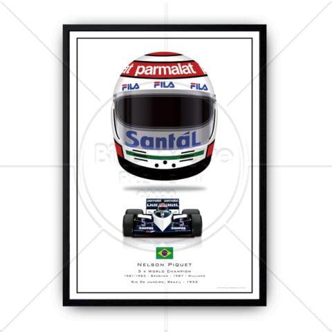Nelson Piquet 1983 Season Helmet Renault Formula 1 wall art poster print