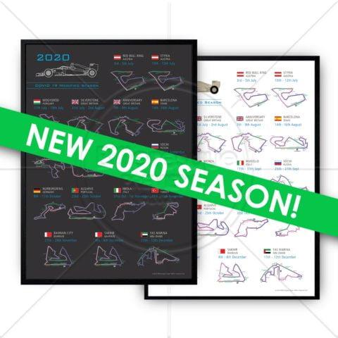 Formula 1 2020 Detail Circuit Calendar COVID Fixtures Poster