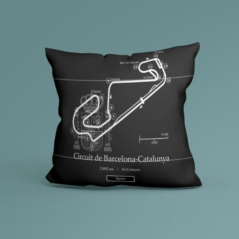 F1 Spanish Grand Prix Race Track Inspired Cushion - 100% High Quality Pure Cotton - Made In Scotland