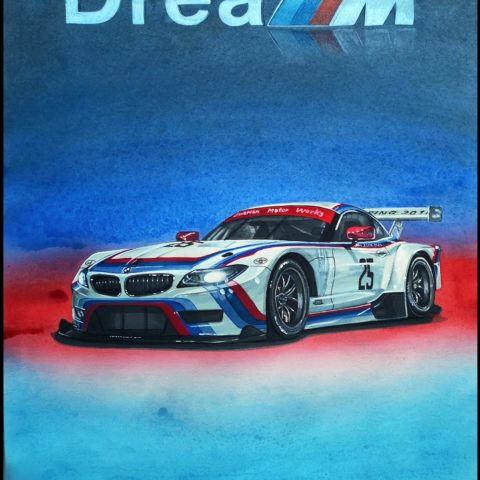 BMW Z4 GTLM 40th Anniversary Edition Original Car Drawing Painting Poster Illustration Automotive Art